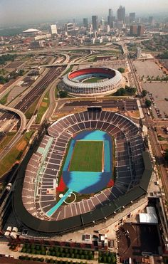 Atlanta Fulton County Stadium (top) was home to the MLB's Atlanta Braves from before moving next door to The Centennial Olympic Stadium that allowed modified (pictured below) seating and would be renamed Turner Field for the Braves Season. Georgia Usa, Atlanta Georgia, Blue Ridge Mountains, Wolf Creek, State Parks, Baseball Park, Braves Baseball, Atlanta Skyline, Sports