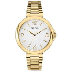 Bulova White Dial Gold-tone Ladies Watch 97L139 >>> You can get more details here