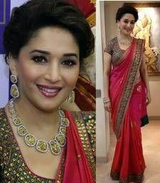 Buy Bollywood replica madhuri-dixit pink shaded sillky saree madhuri-dixit-saree online