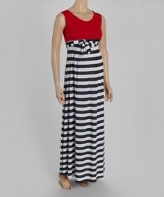 Another great find on #zulily! Black Stripe Color Block Maternity Maxi Dress #zulilyfinds