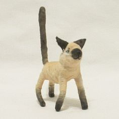Vintage Style Spun Cotton Siamese Cat Figure -- beautiful work! She also does custom figures of your pet if you send her photos. Great gift ideas for the pet lover.