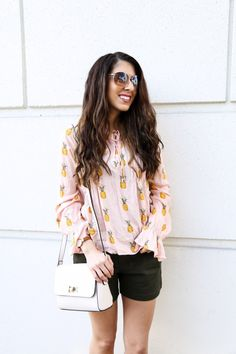 Pineapple Print Blouse. Houston Blogger. Affordable Fashion. Olive Green Shorts. Tropics tops. Casual Wear. Weekend Wear. Modest Fashion. Summer Outfits. Spring outfits.