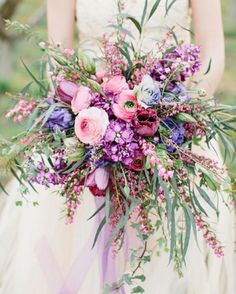 Beautiful pink and lilac wedding bouquet
