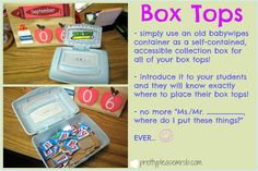 Neat way to collect and store loose Box Tops for Education box tops