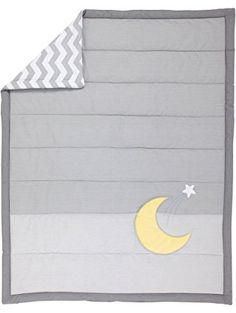 """Little Love by NoJo Separates Collection Star and Moon Applique Comforter, 42"""" x 33"""", Grey/Yellow ❤ Crown Crafts Infant Products, Inc."""
