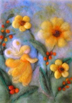 Children's pictures – Cornelia Lauwaert – artist and educator – oil paintings – felt … - Kinder Felt Pictures, Needle Felting Tutorials, Felt Fairy, Felt Embroidery, Wool Art, Nuno Felting, Felt Dolls, Felt Ornaments, Felt Crafts