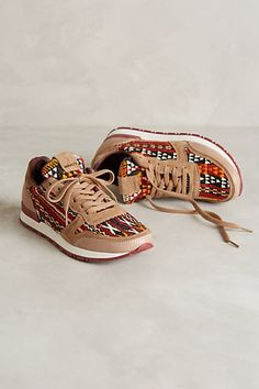 sneakers made with vintage textiles - anthropologie