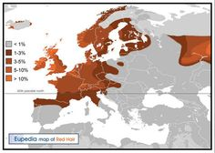 A map showing the prevalence of red hair in Europe.