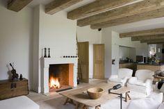 Belgian | style | interiors | open plan | living room | kitchen | fireplace