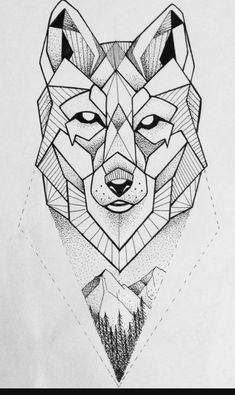 Geometric wolf dotwork on ink wolf tattoo design, geometric Wolf Tattoo Design, Wolf Design, Tattoo Designs, Sketch Tattoo Design, Geometric Wolf Tattoo, Geometric Drawing, Geometric Art, Geometric Animal, Geometric Flower
