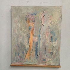 huile sur toile ,signée François-Baudoin , intitulé rencontre insolite,datée 1967 . XX siècle .