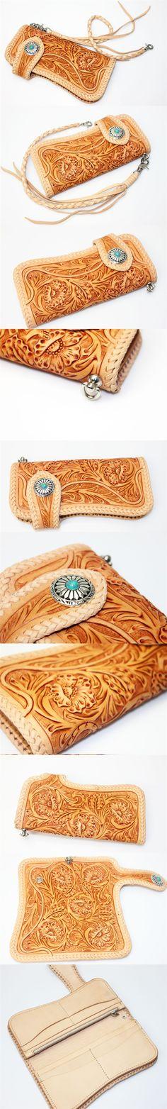 Floral Filigree Flower Vintage Wallet Hand Carved Tooled Leather Biker Wallet | eBay