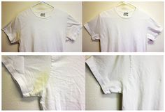 This really works! spot remover for clothes -- gets out wine, armpit stains, etc. I used 1/2 cup Dawn, 1 cup Hydrogen Peroxide and 2 T Baking Soda, mixed it in a bowl, dipped my scrub brush in it and scrubbed the collars and underarms of my husbands white t-shirts. I let it sit for an hour and washed it in hot water with a little of my laundry detergent and BAM!!! Amazing!