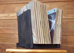 Vinyl Record Storage Display Black Birch by ShadyMapleWoodworks