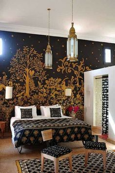 Romantic Moroccan bedroom with floral patterns- interior design ideas for own, private, intimate place.