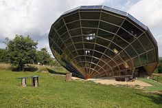 The Heliodome, a bioclimatic solar house is seen in Cosswiller in the Alsacian countryside near Strasbourg, Eastern France. The house is designed as a giant three-dimensional sundial, set on a fixed angle in relationship to the sun's movements to provide shade during the summer months, keeping the inside temperature cool, and during fall, winter and spring sunlight enters the large windows as the sun's position is lower in the sky, thus warming the living space.