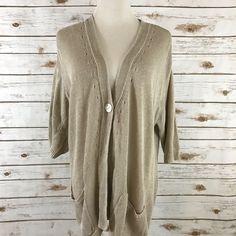 J. Jill M Linen Cardigan Sweater Short Sleeves Pockets BEIGE Size MEDIUM EUC  | eBay