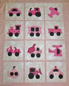 Set of 12 Applique Quilt Blocks  ...  Girly Pink by MarsyesShoppe