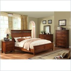 Riverside Furniture Craftsman Home Panel Bed In Americana Oak