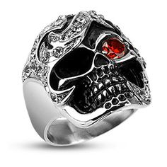 Badboy Jewellery - Pirate Skull Ring With CZs - Stainless Steel