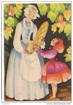 Little Red Riding Hood Charles Perrault, Painting People, Kids Story Books, Fairytale Art, Vintage Children's Books, Children's Book Illustration, Red Riding Hood, Little Red, Animal Pictures