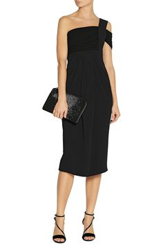 B is for black! Proenza Schouler One-shoulder crepe and jersey dress #THEOUTNETabc #SeeItShopIt