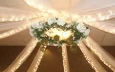 Lime Green Wedding Reception Decoration Table 4 Decor  center of ceiling drape
