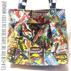Classic Tote made with Avengers Marvel Comic fabric by Delilah Rae {handmade}