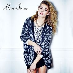 Marie Sixtine Mouette Leopard print Cardigan in Black and White from Roo's Beach #mariesixtine #aw14 #wool  #mohair #multibrand #multibrandstore #irishowroom #knitwear #collection