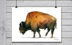 POSTER PRINT Buffalo Bison American by SanMartinArtsCrafts