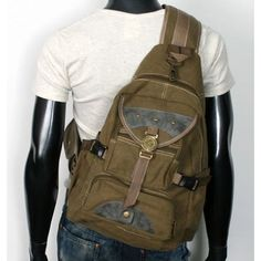 MENS VINTAGE LOOK SPORTS OUTDOOR UNBALANCED MILITARY BACKPACK SLING HIKING BAG EB005 BEIGE: Sports & Outdoors