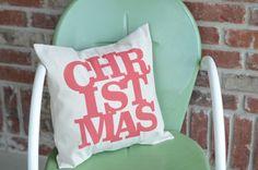 christmas spray painted pillow