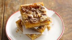 Pillsbury - Easy Back to School Recipes (July Quick Crescent Pecan Pie Bars - Refrigerated crescent dough makes this pecan bar recipe simple and quick to prepare. Köstliche Desserts, Delicious Desserts, Dessert Recipes, Bar Recipes, Recipies, Snack Recipes, Baking Recipes, Yummy Food, Potluck Recipes