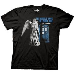 Stop. Keep your eyes open. Don't move. Don't even blink. Those are not statues. They are the Weeping Angels and if you blink, you die. Plus they might get the Tardis, just as depicted on this Doctor Who Angels Have the Phone Box T-Shirt.  If they get the Tardis, there's nothing