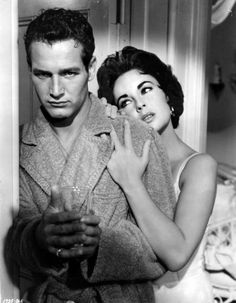 Paul Newman and Elizabeth.Taylor in 'Cat on a Hot Tin Roof', 1958.