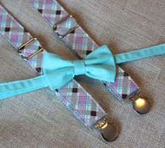 Teal Bow Tie and Purple / Tan Plaid Suspender by CottonKandyShop, $30.00
