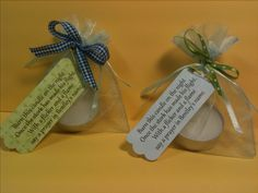 "Baby Shower Favor- Tea light candle in organza bag. Tag ""Burn this candle on the night, Once the stork has made his flight. With a flicker and a flame, Say a prayer in baby's name."" By Karen Patton"