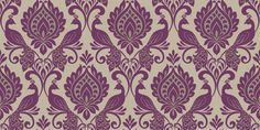 Borromeo (952601) - Arthouse Wallpapers - A stunning Eastern inspired, intricate peacock damask design with a pleasing symmetry. Shown in the rich damson purple with glitter detail. Other colours available. Please request sample for true colour and texture. Paste the wall product.