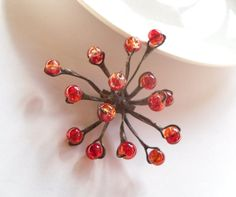 Copper wire brooch contemporary jewelry funky by ArtemisFantasy