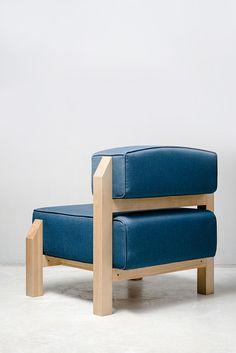 T-block on Behance Upholstered Furniture, Diy Furniture, Furniture Design, Low Chair, Wood Sofa, Small Sofa, Industrial Furniture, Sofa Set, Ottoman