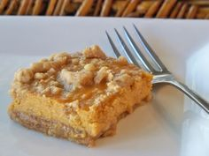 Pumpkin Pie Bars! All the deliciousness of pumpkin pie but you don't have to make the crust. :)