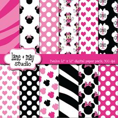pink and black minnie mouse digital scrapbook papers.