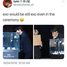 This was so funny! They were literally laughing at their growl era faces! Kaisoo, Chanbaek, Kyungsoo, Chanyeol, Exo Ot12, Exo Red Velvet, Exo Facts, Kpop Memes, Kim Minseok