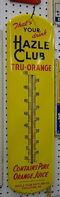 Authentic Hazel Club Soda Advertising Thermometer Sign Vintage Tin 227 T | eBay
