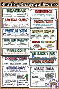Reading Strategies Posters for Word Walls and Reference Help your students master important reading Reading Strategies Posters, Reading Comprehension Strategies, Reading Resources, Reading Skills, Writing Skills, Teaching Reading, Comprehension Posters, Guided Reading, Reading Posters