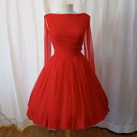 Dazzling 1950's red chiffon party dress