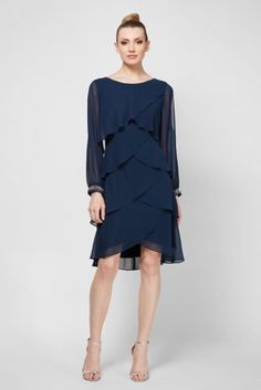 79f64aeae2 Short Tiered Split Sleeve Dress with Beaded Cuffs