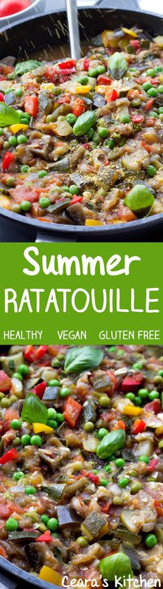 This Summer Ratatouille is a flavorful, bright + delicious way to use up those Summer vegetables! Serve over potatoes, pasta or quinoa. Naturally #healthy #vegan and #glutenfree!