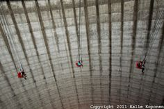A carousel spins inside the cooling tower of the Kalkar nuclear power station