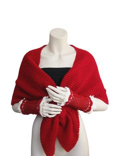 Red Oscillation Wrap,hand-knitted shawl,women shawl,Red Fingerle gloves,valentine's gift,christmas,